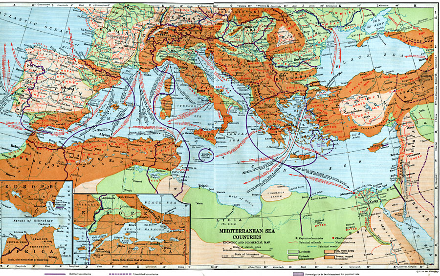 Economic and Commercial Map of the Mediterranean Sea Countries