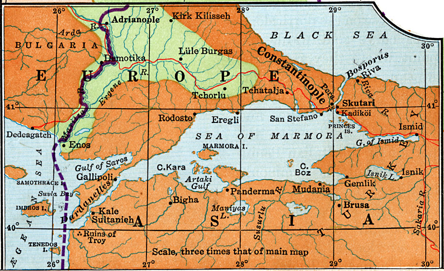 European and Asian Land East of the Mediterranean Sea.