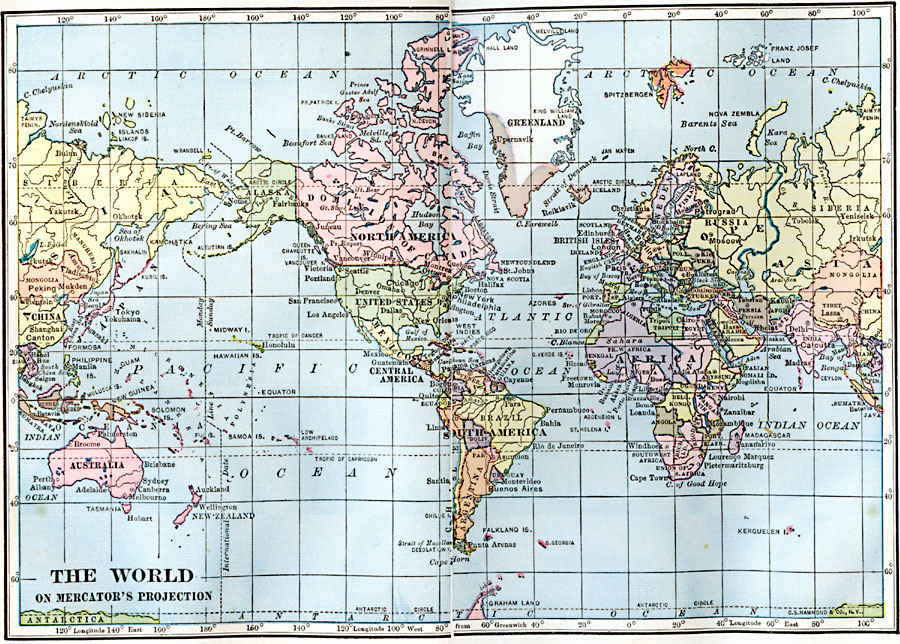 World Map on Mercator\'s Projection