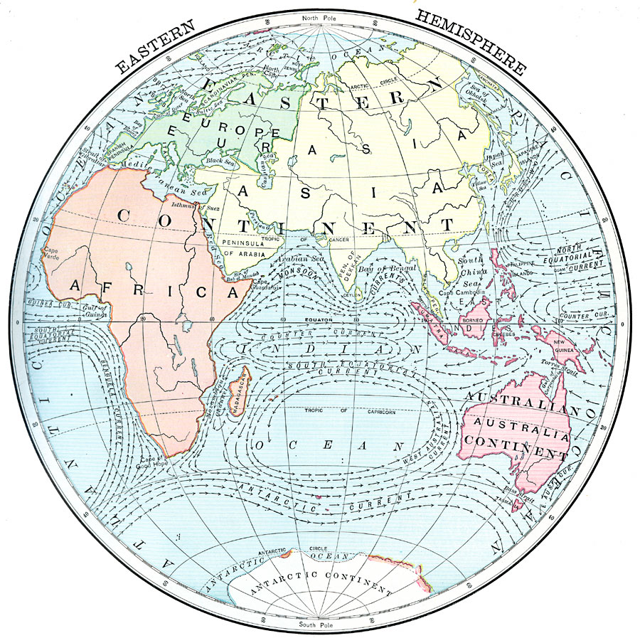 World Map Hemispheres Countries. Eastern Hemisphere and Ocean Currents 5924 jpg