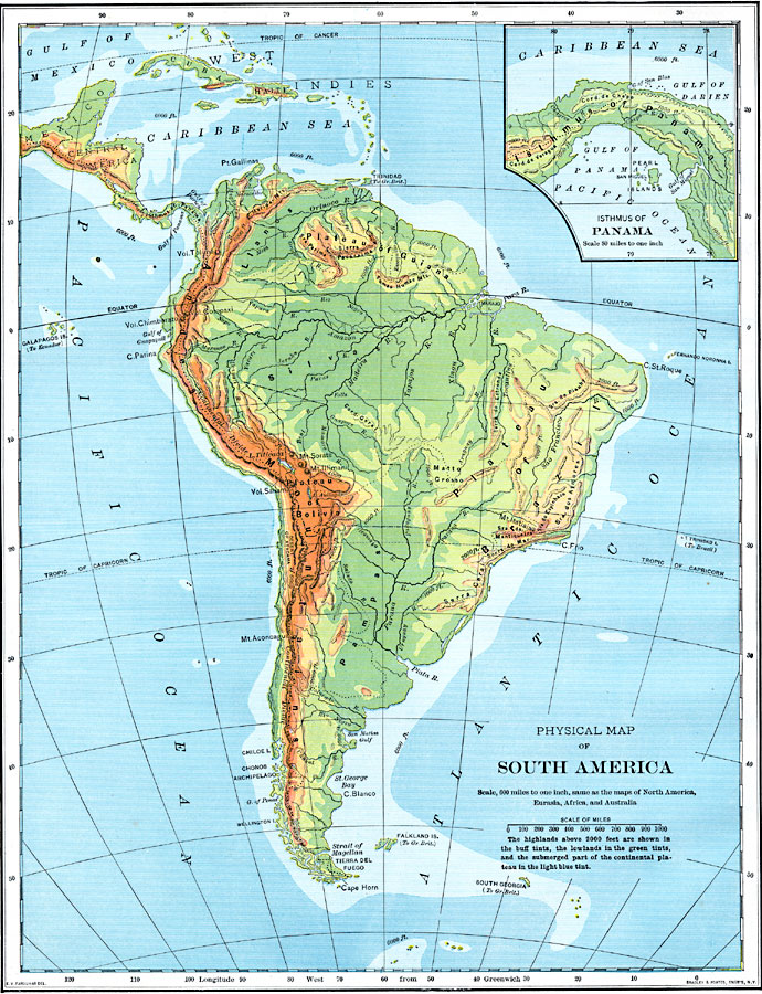 Latin America South America Map.Physical Map Of South America