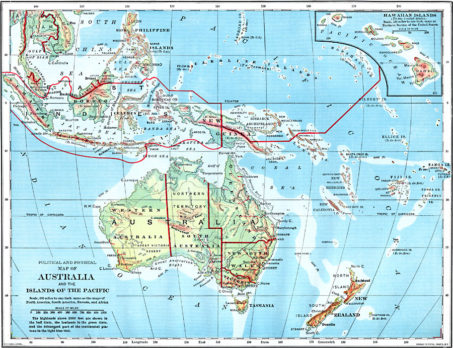 Political and Physical Map of Australia and the Islands of the ...