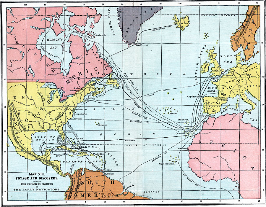 Early Voyages Of Exploration Interactive Map Through: Voyage And Discovery