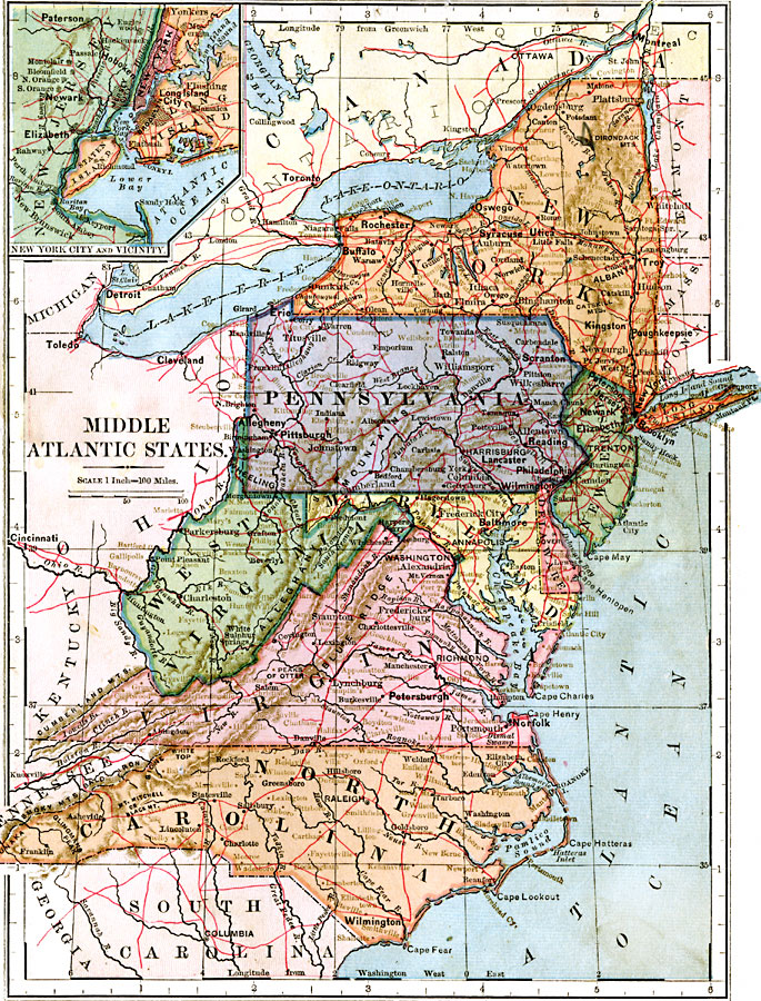Mid Atlantic States Map.Middle Atlantic States