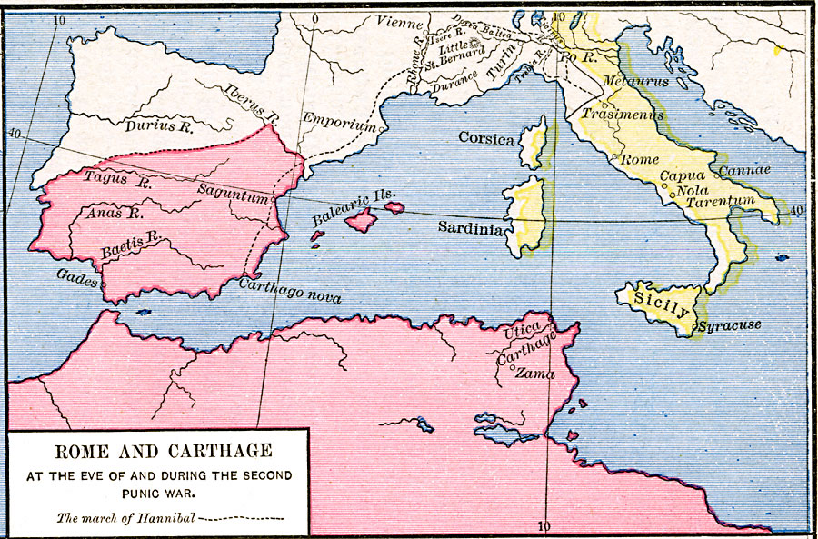 Rome and Carthage at the end of the second Punic War Carthage Rome Map on