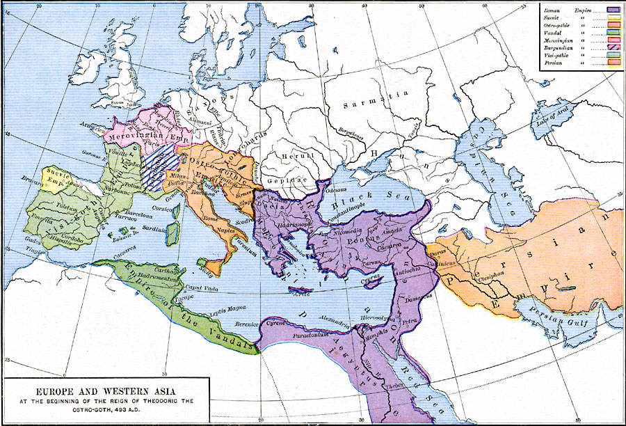 Europe and Western Asia at the beginning of the Reign of Theodoric ...