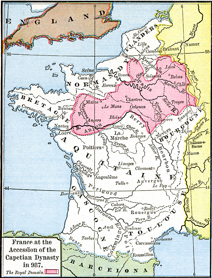 Map France 987.France At The Accession Of The Capetian Dynasty