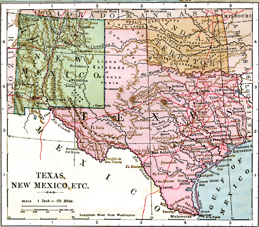 Map Of New Mexico And Texas Texas, New Mexico, and Indian Territory