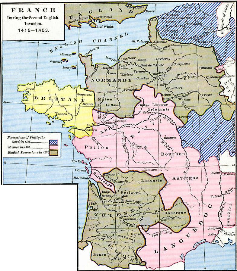 Map Of France In English.France During The Second English Invasion