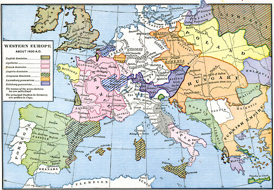 Map Of Europe In The 1400s.Western Europe