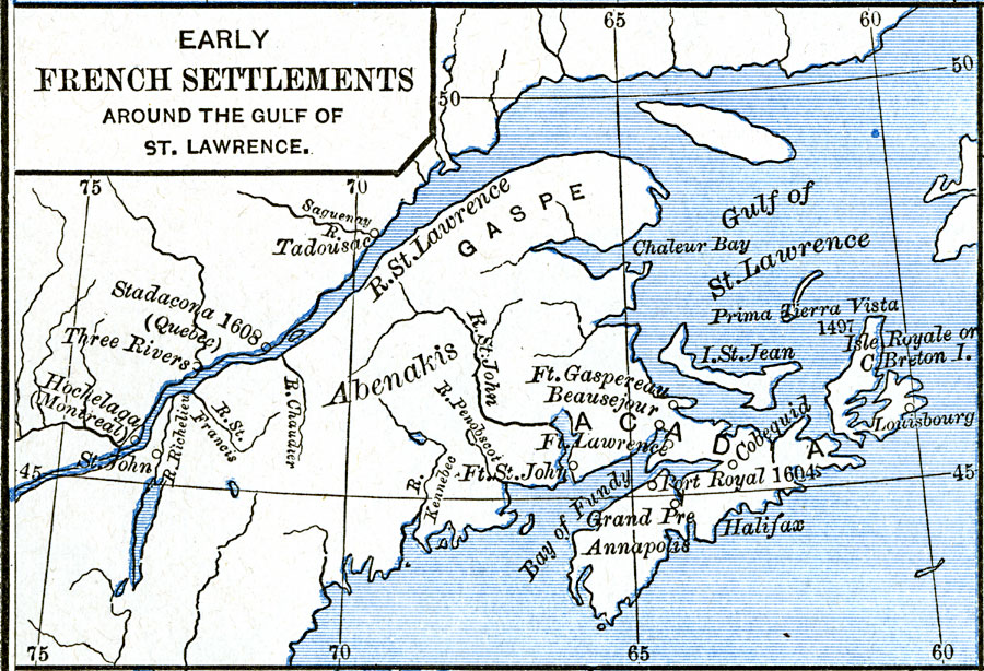 Early French Settlements Around the Gulf of St. Lawrence on map of lake st. clair, map of appalachian mountains, map of 45th parallel north, map of ellicott creek, map of cazenovia creek, map of saint francis river, map of new france, map of chesapeake bay, map of saint johns river, map of saint lawrence seaway, map of straits of mackinac, map of saint lawrence gulf, st. lawrence river, map of st. lawrence canada, map of saint clair river, map of lake michigan, map of gulf of california, map of st. lawrence county ny, map of lake george, map of tonawanda creek,