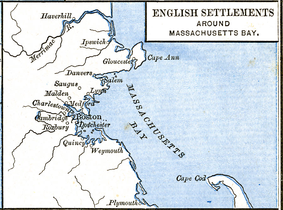 English Settlements around Massachusetts Bay, 1620–1652