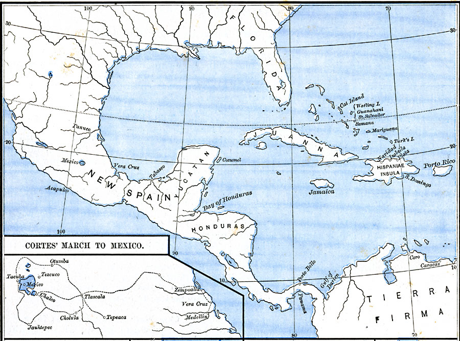 Hernan Cortes Exploration Route Map: Cortes' March To Mexico
