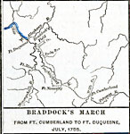 Braddock S March From Ft Cumberland To Ft Duquesne July 1755 A Map Showing British General Braddock S March From Ft Cumberland To Ft Duquesne In July