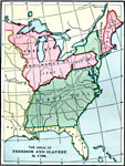 a map of the united states and territories east of the mississippi river in 1790 showing the areas of freedom and slavery at