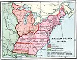 A Map Of The United States In 1800 Color Coded To Show The States Territories British Possessions And Spanish Possessions