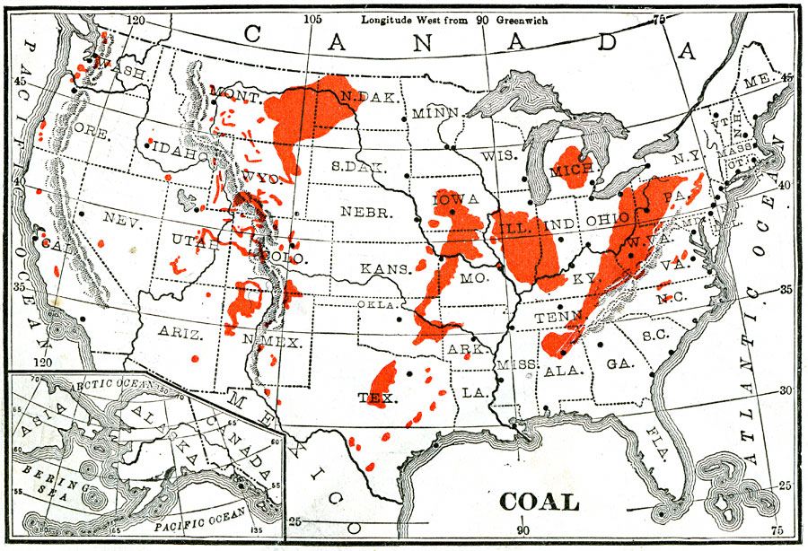Coal Mining Regions Of The United States - Coal-map-us