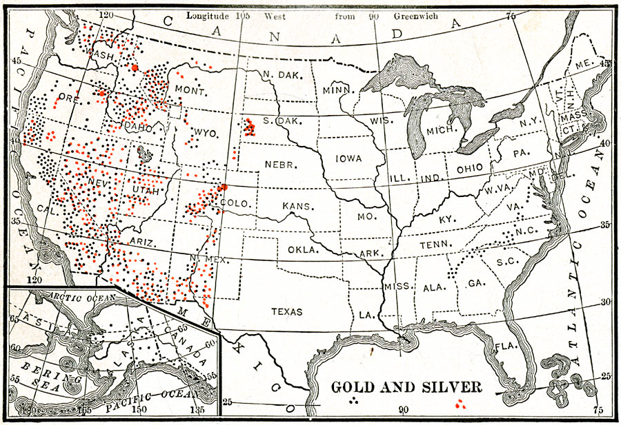 gold and silver mining regions of the united states