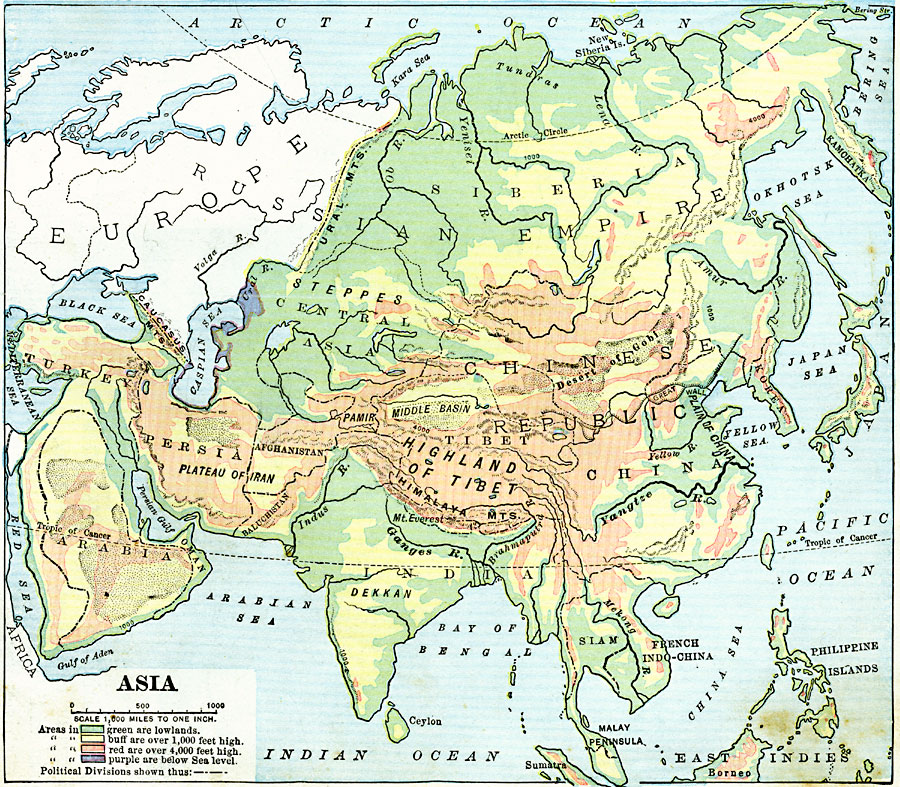 Land Elevations Of Asia