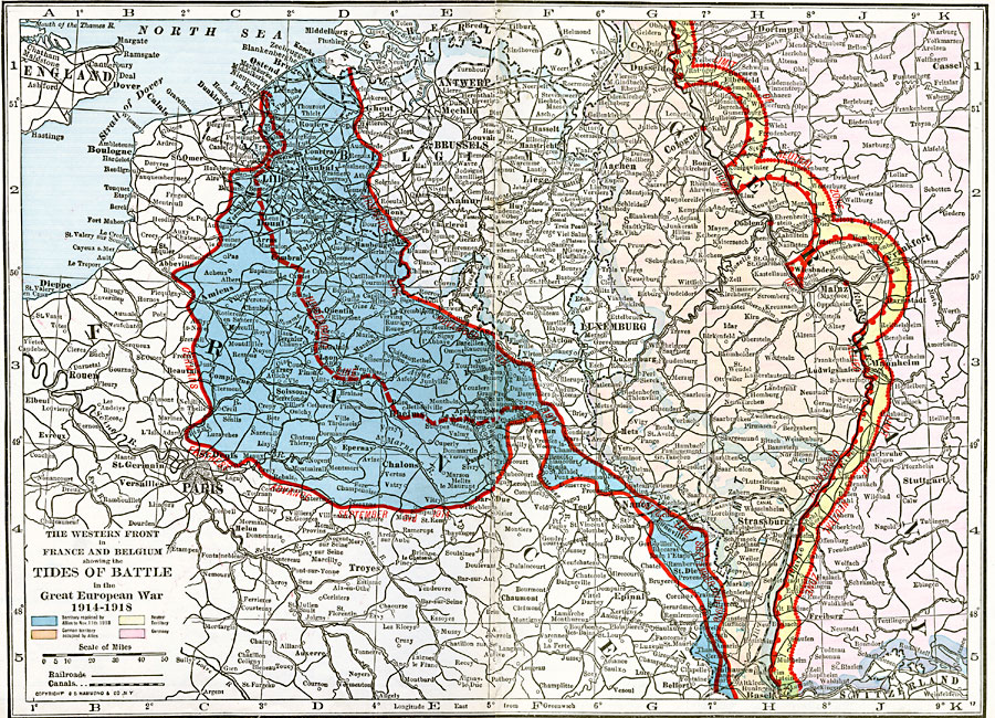 Map Of France Belgium.The Western Front In France And Belgium