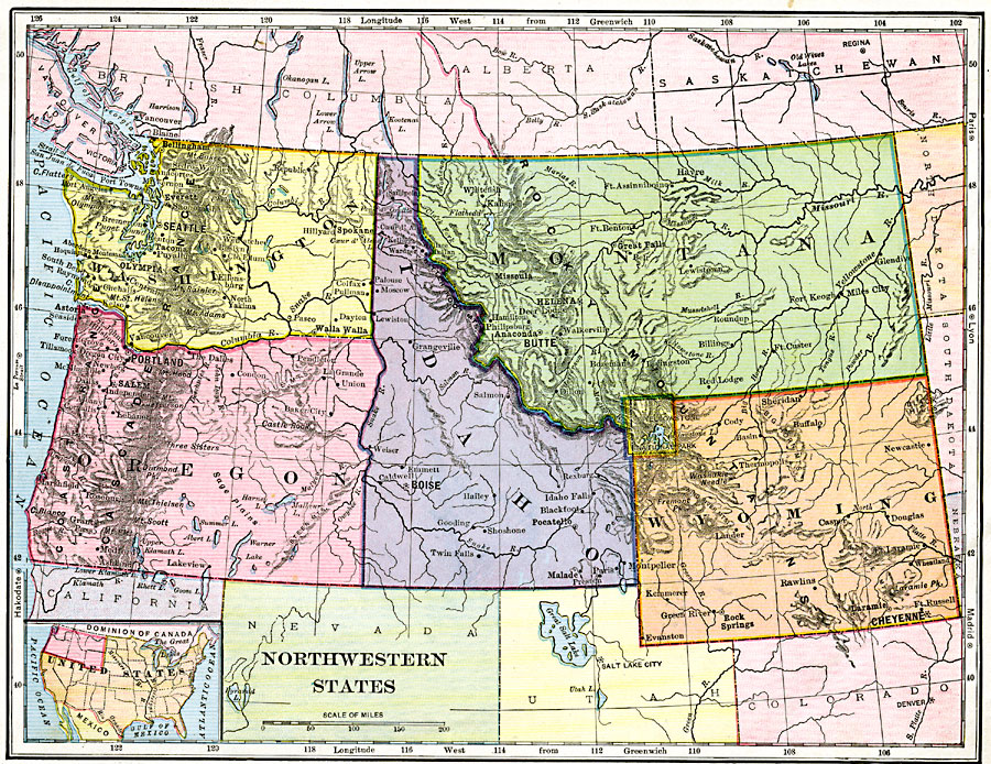 Road map northwest usa