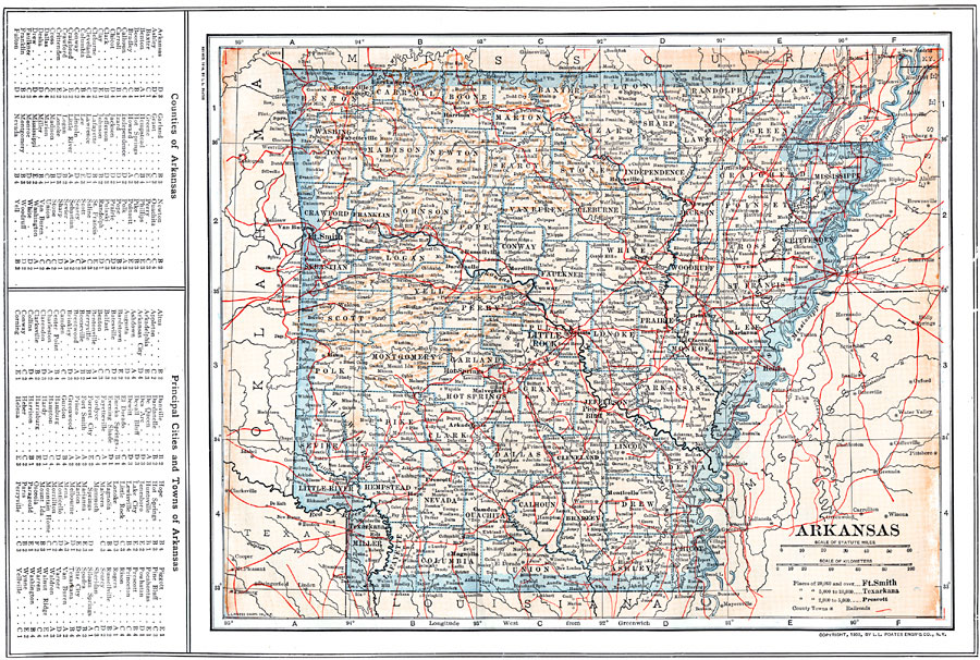 Arkansas Map With Counties And Towns