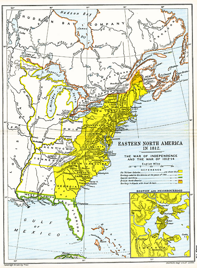 Map Of America In 1812.Eastern North America 1812