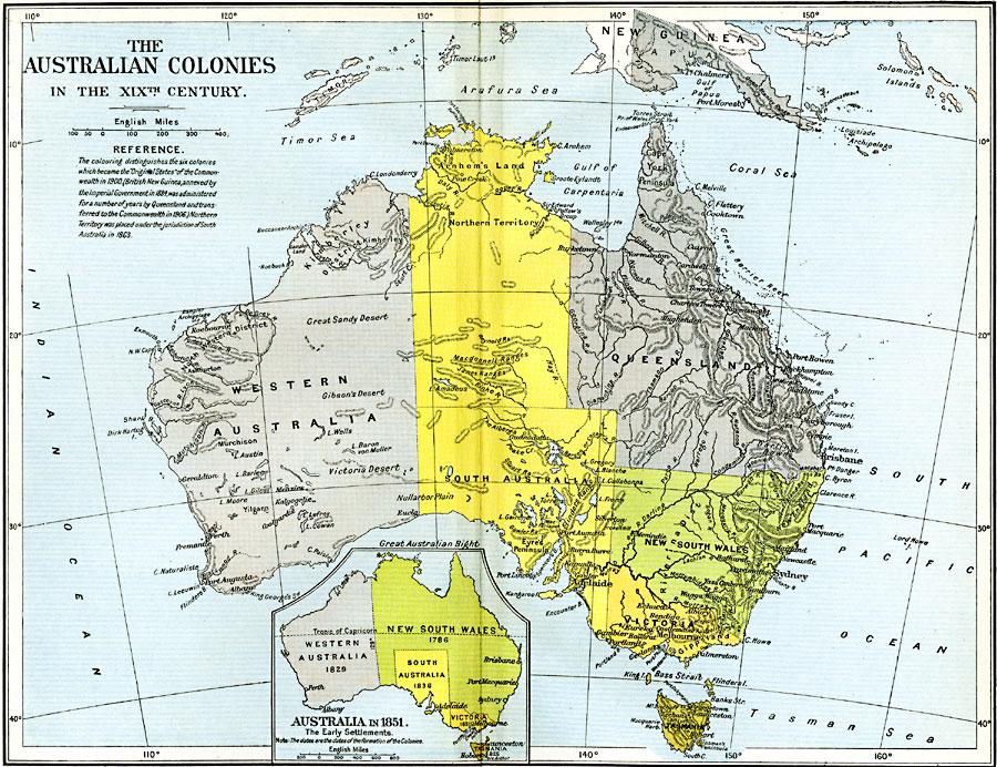 Australia Map 1900.The Australian Colonies