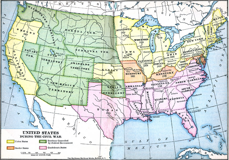 United States During The Civil War 18611865 - Map-of-the-us-in-1861