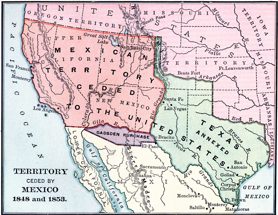 Map Of Texas Mexico.Territory Ceded By Mexico