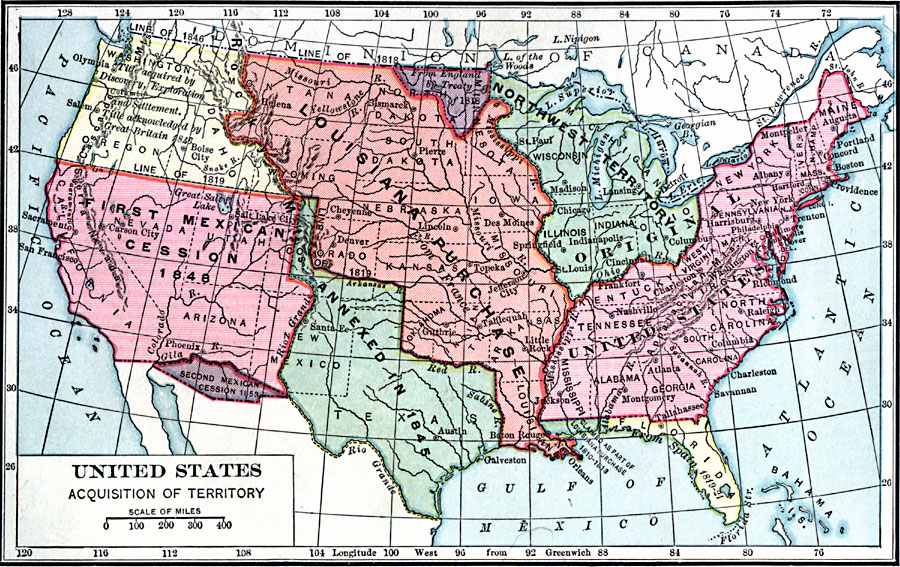 Map Us Land Acquisitions - Blank map of us territorial acquisitions