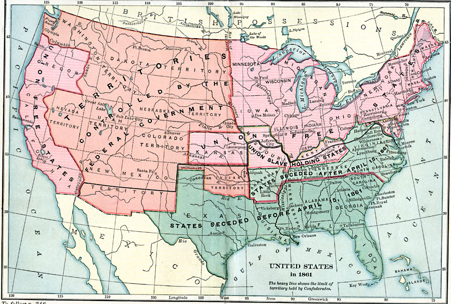 United States In 1861 - Map-of-the-us-in-1861