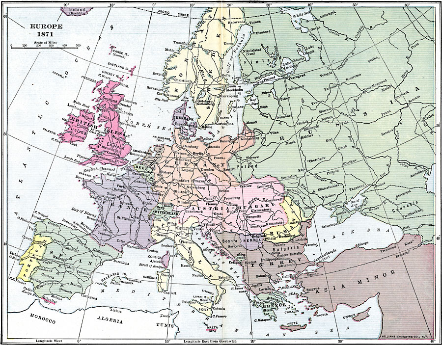 Map Of Europe In 1871.Europe In 1871