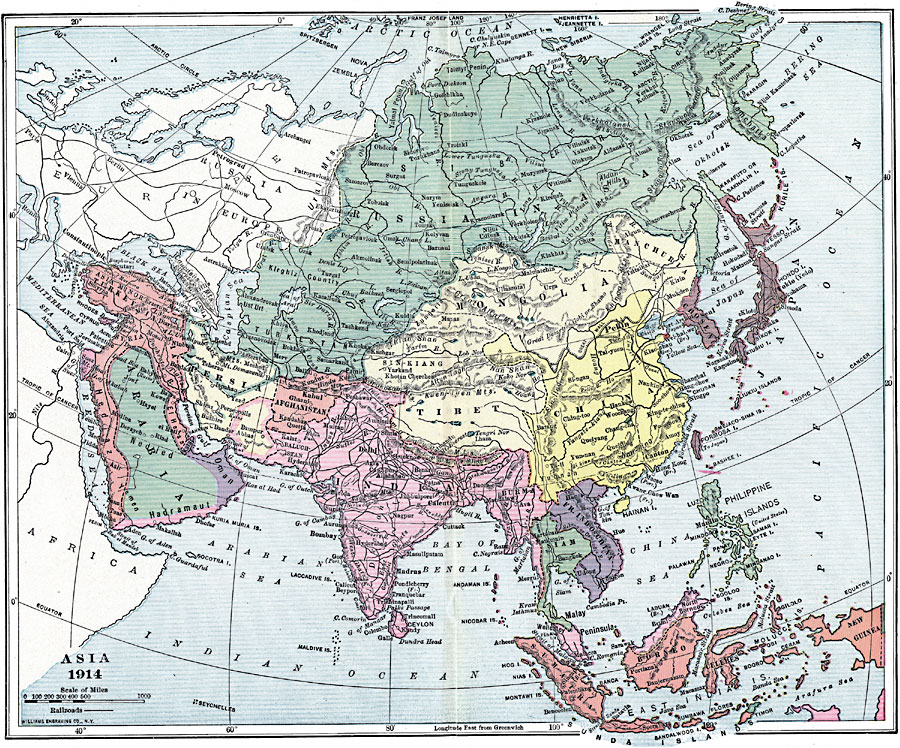 Map Of Asia 1914.Colonial Rivalry In Asia