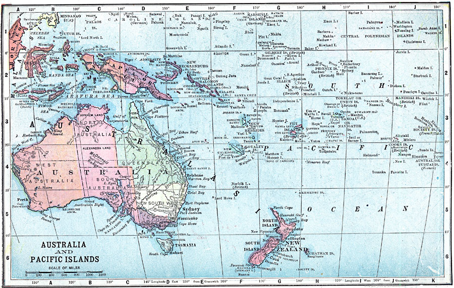 Australia And Pacific Map.Map Of Australia And The Pacific Islands