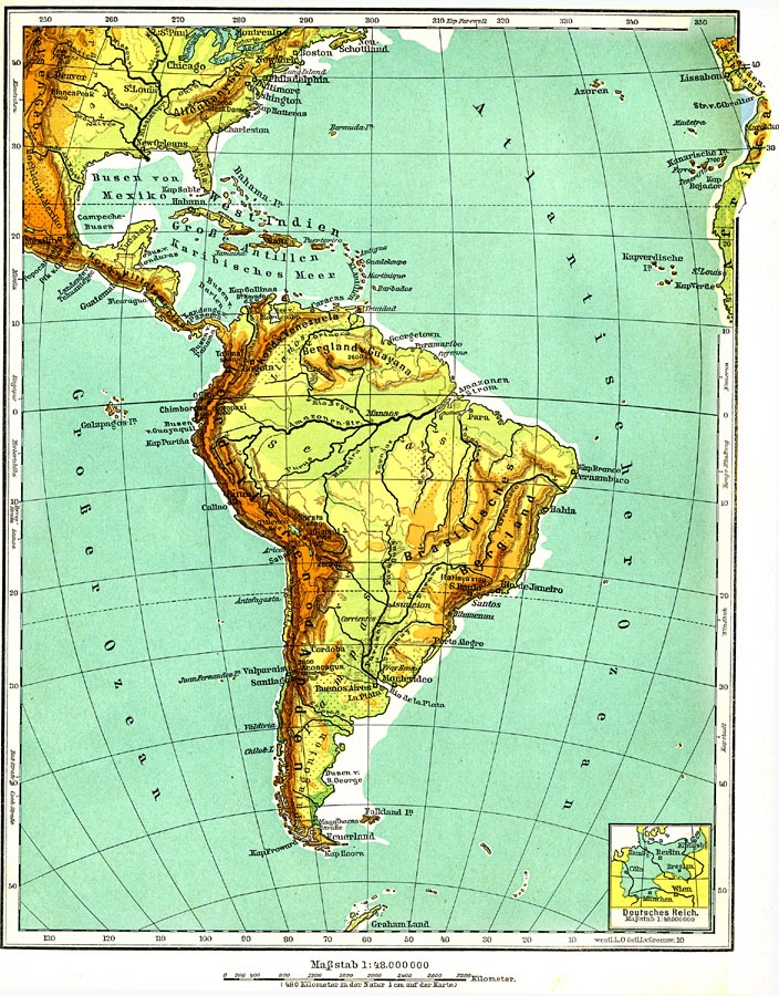 Cape Horn On South America Map.South America Physical