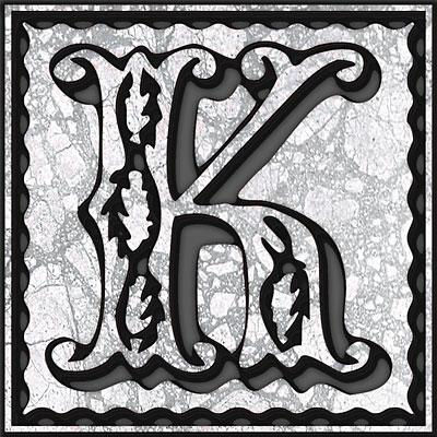 K Letter In Style Presentation Alphabet Set: Drop Caps Letter K - Style 055