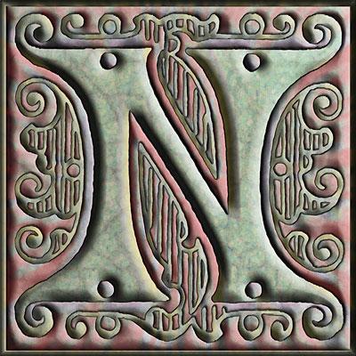 Presentation Alphabets Drop Caps Letter N Style 152