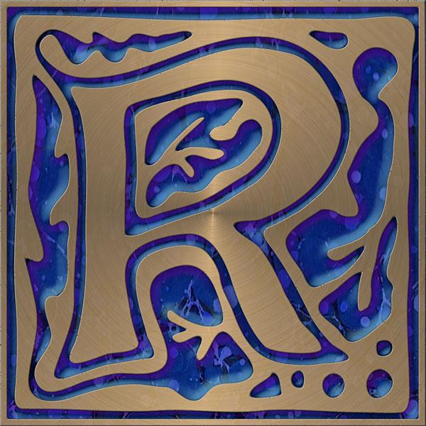 Presentation Alphabets Drop Caps Letter R Style 143