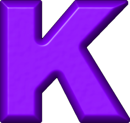 K Alphabet Letter Presentation Alphabets: Purple Refrigerator Magnet K