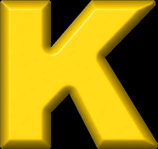 K Alphabet Letter Presentation Alphabets: Yellow Refrigerator Magnet K
