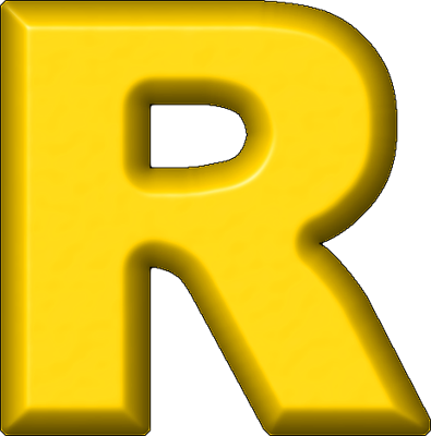 R Alphabet Letter Presentation Alphabets: Yellow Refrigerator Magnet R