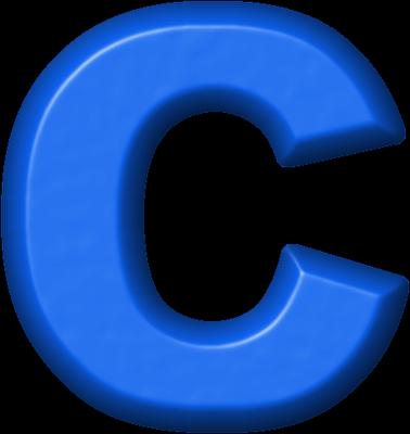 presentation alphabets: blue refrigerator magnet c