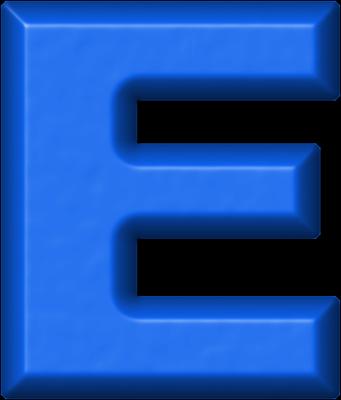 presentation alphabets: blue refrigerator magnet e