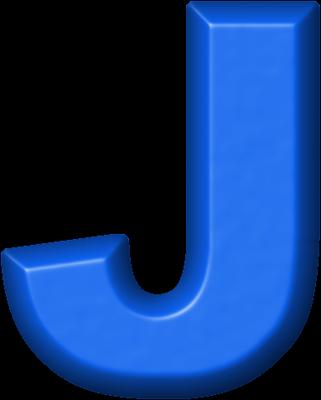 presentation alphabets: blue refrigerator magnet j