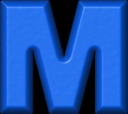 presentation alphabets: blue refrigerator magnet m