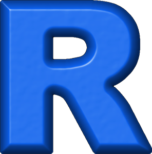 R Alphabet Letter Presentation Alphabets: Blue Refrigerator Magnet R