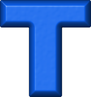 presentation alphabets: blue refrigerator magnet t