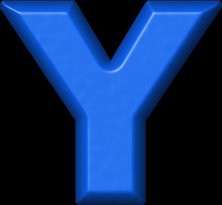 presentation alphabets: blue refrigerator magnet y
