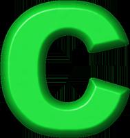 Presentation Alphabets: Green Refrigerator Magnet C